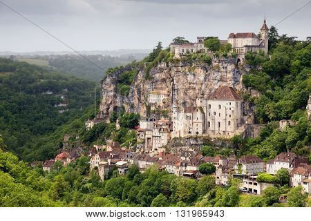View on Rocamadour village in Southwestern France.