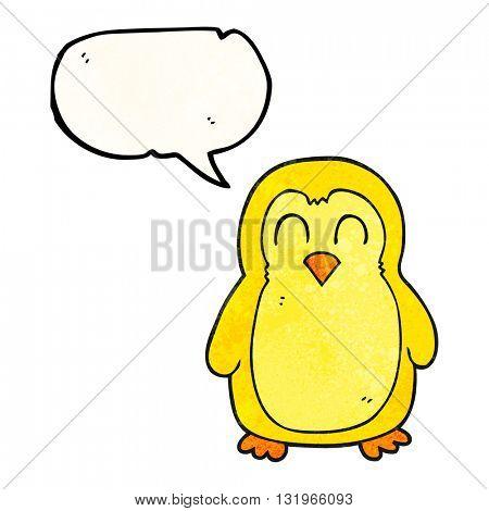 freehand speech bubble textured cartoon bird
