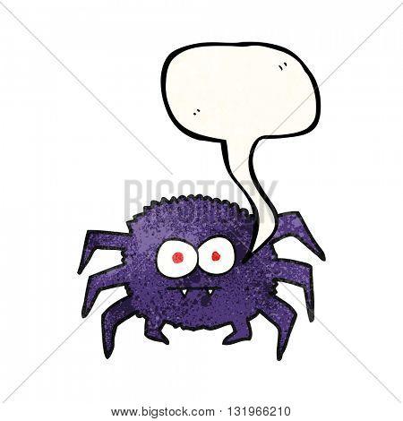 freehand speech bubble textured cartoon spider