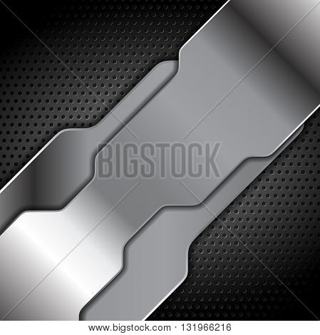 Abstract metal texture tech background. Grey silver metal tech vector design