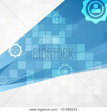 Abstract blue tech communication background with squares. Technology vector design
