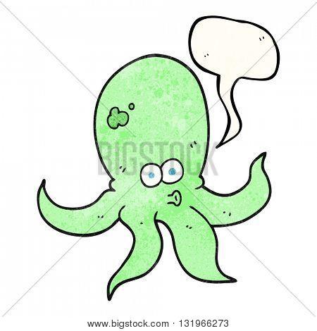 freehand speech bubble textured cartoon octopus