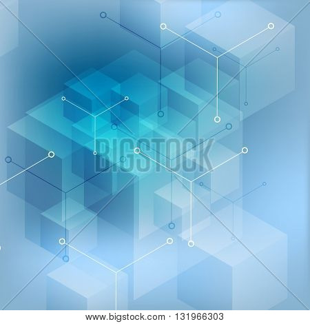 Hi-tech abstract geometric blue background. Vector design