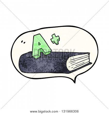 freehand speech bubble textured cartoon A grade symbol and book