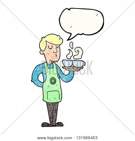 freehand speech bubble textured cartoon barista serving coffee