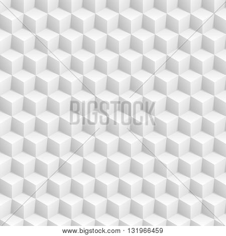 Grey abstract 3d cubes pattern. Vector tech graphic design