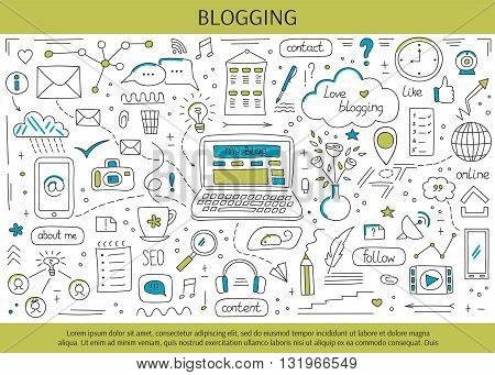 Blogging and social media hand drawn elements. Vector horizontal banner template. Doodle background. For banners and posters, cards, brochures, souvenirs, invitations, website designs.