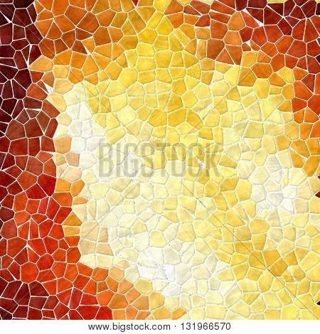 mosaic fiery yellow orange and red pattern texture background with white grout