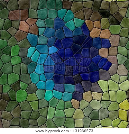 mosaic natural blue and green pattern texture background with black grout - peacock feather