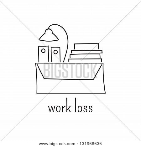 Hand drawn thin line icon, vector logo template illustration. Work loss. Unemployment and crisis isolated symbol. Black on white pictogram. Simple mono linear modern design.