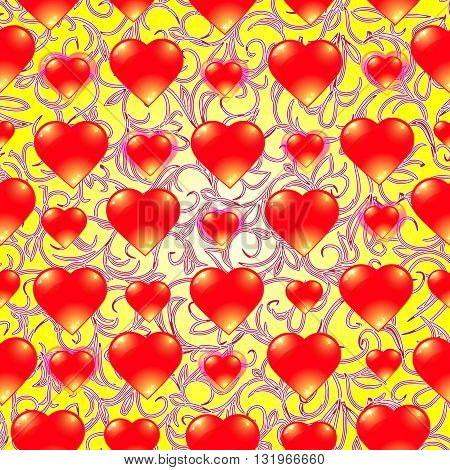 Yellow vector illustration. Background with red hearts.
