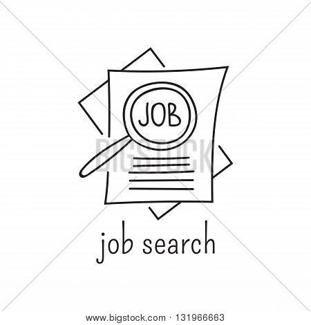 Hand drawn thin line icon, vector logo template illustration. Work loss and job search. Unemployment and crisis isolated symbol. Black on white pictogram. Simple mono linear modern design.