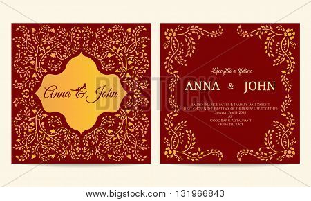 Wedding card - Gold and red creeping plant frame vintage vector template design