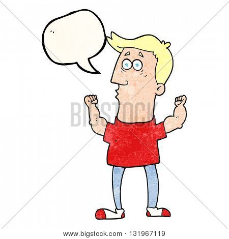 freehand speech bubble textured cartoon surprised man flexing biceps