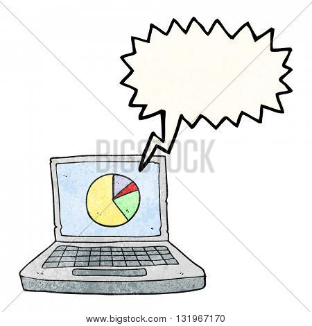 freehand speech bubble textured cartoon laptop computer with pie chart