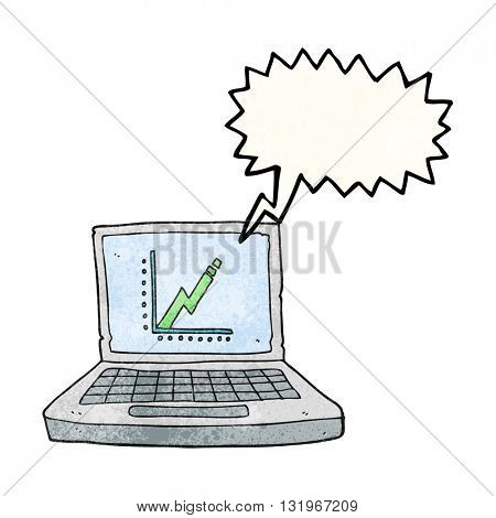 freehand speech bubble textured cartoon laptop computer with business graph