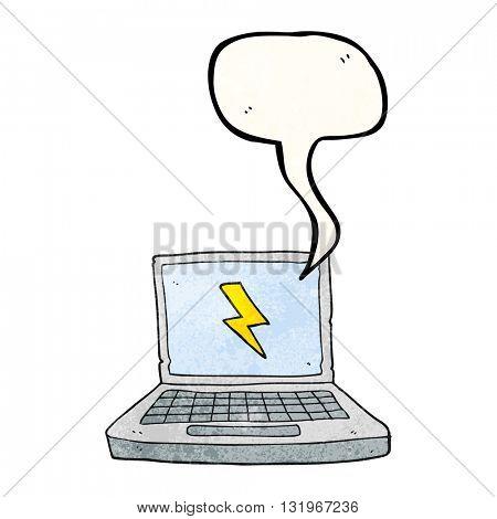 freehand speech bubble textured cartoon laptop computer