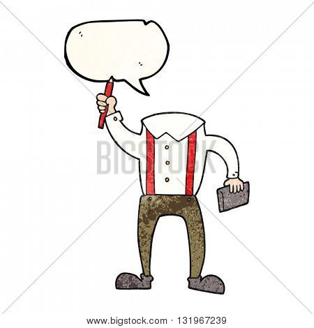 freehand speech bubble textured cartoon headless body with notepad and pen (add own photos)