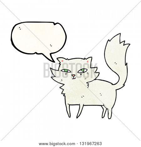 freehand speech bubble textured cartoon cat