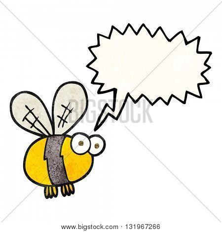 freehand speech bubble textured cartoon bee