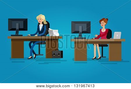 Vector detailed character corporate Office worker, business team people sitting behind desk. Office workers. Office worker cool flat  illustration