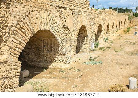Roman agueduct arches near Carthage in Tunisia.