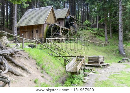 ZLATE MESTO - MAY 21: View of the gold mine water mills on 21 May 2016 in Zlate Mesto, Czech Republic. Water mills were used for grinding ore and leaching for gold.