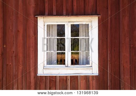 Old Wooden Wall With Window In White Frame