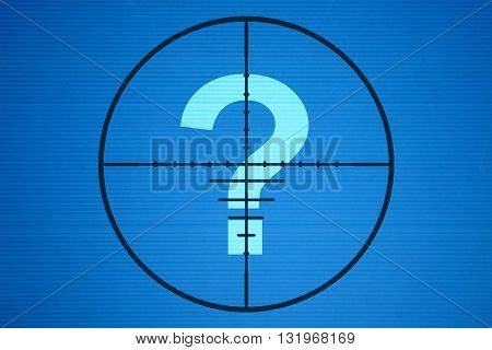 Question mark in the center of the target on blue background