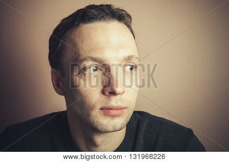 Young Handsome Caucasian Man Closeup