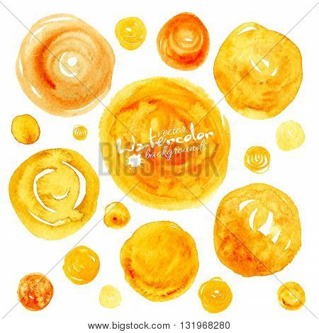 Set of yellow vector traced watercolor circles backgrounds