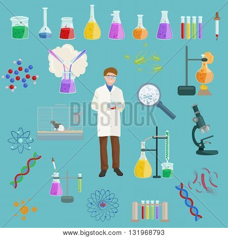 Chemical laboratory equipment and medical chemical laboratory tools vector. Graphic set chemical laboratory science and chemical objects flat vector.
