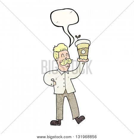 freehand speech bubble textured cartoon man with coffee cups