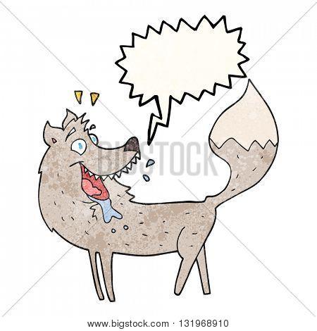 freehand speech bubble textured cartoon wolf