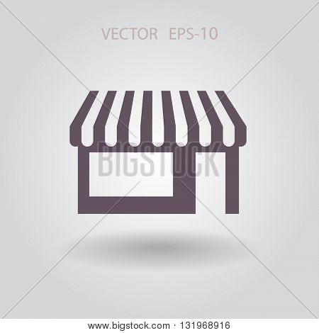 Flat long shadow Store icon, vector illustration