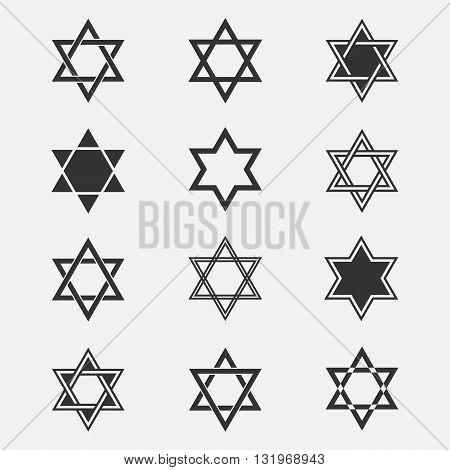 Star of David vector set. Collection of Jewish stars isolated from the background. Star of David logo. Icons Magen David in a flat style. Are different Black Star of David symbol.