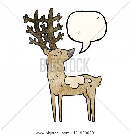 freehand speech bubble textured cartoon stag