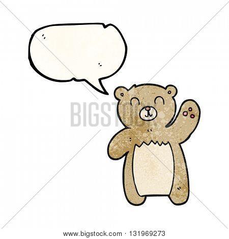 freehand speech bubble textured cartoon teddy bear