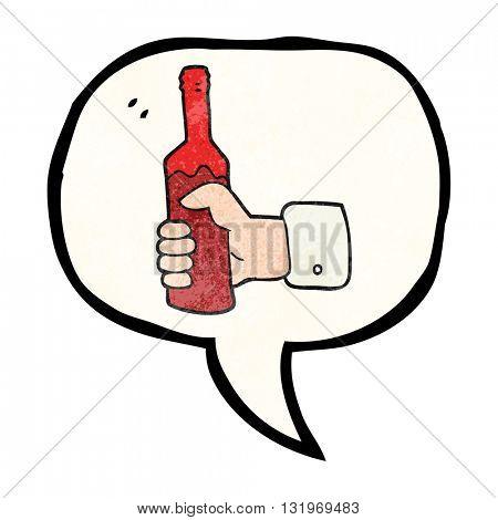 freehand speech bubble textured cartoon hand holding bottle of wine