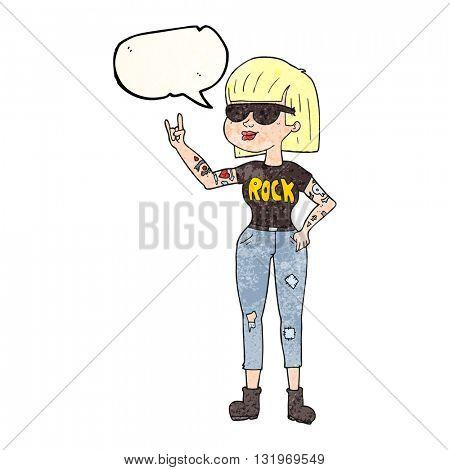 freehand speech bubble textured cartoon rock woman