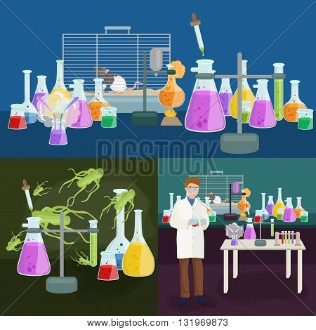 Scientists in lab concept with man making research vector illustration set