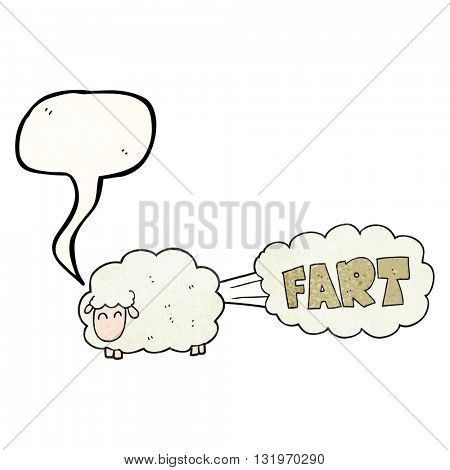 freehand speech bubble textured cartoon farting sheep