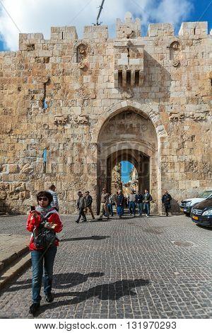 Jerusalem, Israel - February 20, 2013: Tourists Walking Near Lions Gate