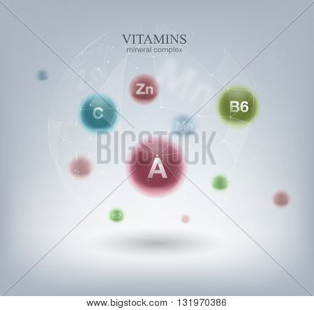 Medical Vitamins and minerals background. Vector illustration.
