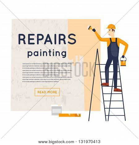 Worker standing on stairs with brush and paint painting the wall. Repair, construction, painting. Character. Flat style vector illustration.