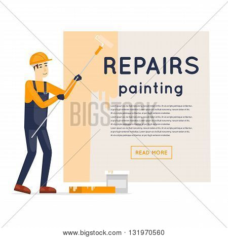 Worker priming wall. Repair, construction, painting. Character. Flat style vector illustration.