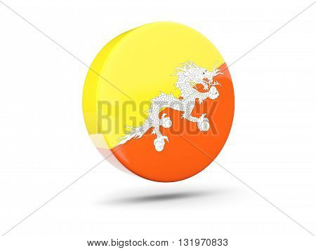 Round Icon With Flag Of Bhutan