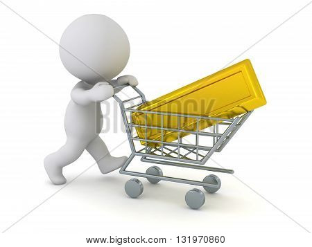 3D character pushing a shopping cart with a large gold bar. Isolated on white background.