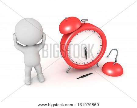 3D character is stressed and a broken alarm clock. Isolated on white background.