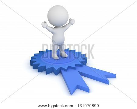 3D character standing with arms raised on a large blue ribbon. Isolated on white background.